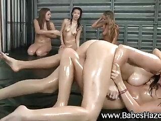 Wet wrestling lesbian teens