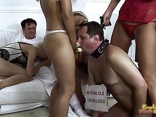 Mistresses Feed Banana To Cuckold Frank For Blowjob Lesson