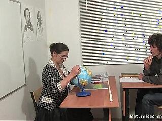 Russian mature teacher Irina geography lesson