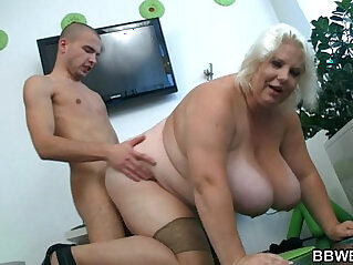 Huge boobs blonde gets doggystyled