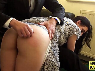 Spanked british sub riding cock