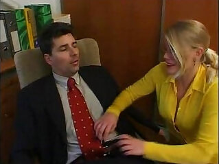 Hot secretary having a moment with her boss