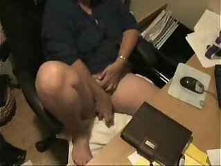 Caught by hidden cam. My mom having fun at computer
