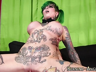 Goth whore gets railed