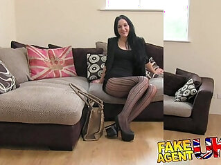 FakeAgentUK Sexy stocking clad Liverpool girl spreads her legs in casting