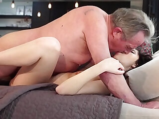 Old and Young Sweet girlfriend gets butt fucked by grandpa