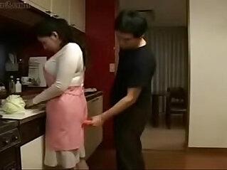 Hot Japanese Asian fucks her Son in Kitchen