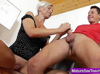 Blond haired Madam giving blowjob