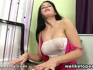 Nicole Pisses Her Sheer Pantyhose