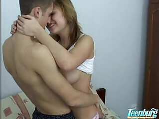 Young amateur couple making love in every room