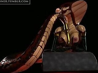 3D Cobra chick masturbates
