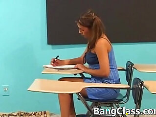Schoolgirl gets fucked in the classroom