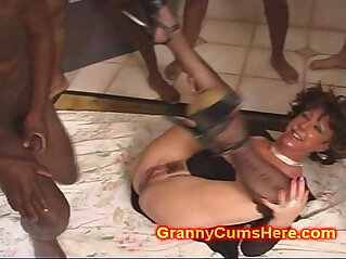 CUM loving GRANNY gang Banged by BBC