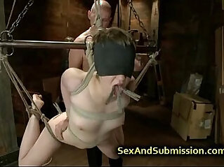 Bound babe fucked by huge dick