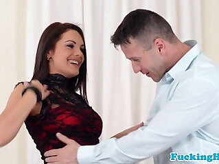 Euro babe tastes jizz after anal bang