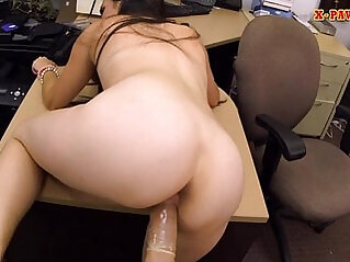 Brunette babe gets banged by pervert pawn guy