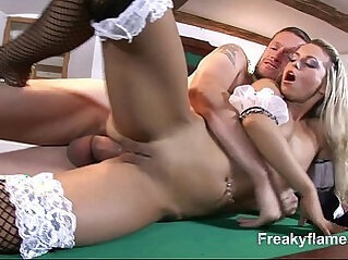 Cum on pussy for big titted maid loving to suck the real big white dick fuck