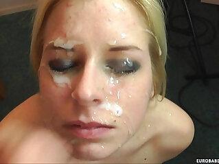 Jenny gets a huge load on her face in her first scene eurobabecumshots