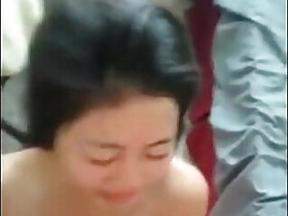 Asian girl first hot load on her face