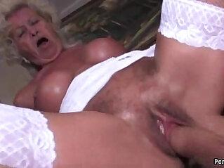 Granny screams while fucked really hard