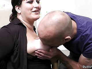 Office sex with her boss and busty secretary