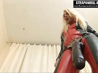 Strapon Hell Crazy Russian mistress fucks her slave with big strapon