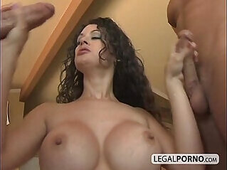 Three horny girls getting her ass fucked by two guys with dicks GB