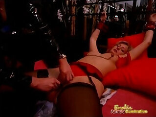 Sexy Mistress In Leather Enjoys Erotically Tormenting Her Slave