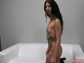 Brunette babe With Tattoo Wants To Be A Pornstar