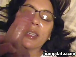 Latin wife gets face with jizz