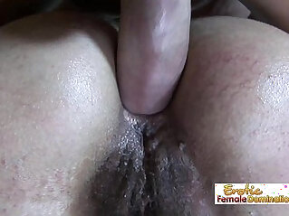 Cougar gets both hairy holes wrecked in a wild fuck