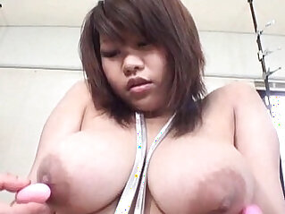 Jap curvy slut in huge natural tits and hairy pussy and nipple toyed in threesome