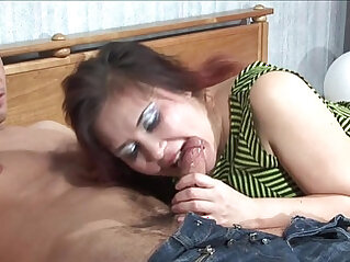 Shenythia chubby russian milf sucks and fucks her young boy in bedroom
