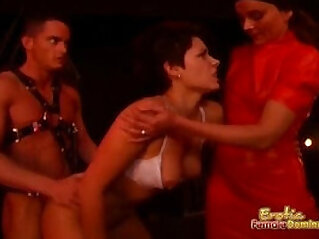Mistress and her slave couple in exciting session