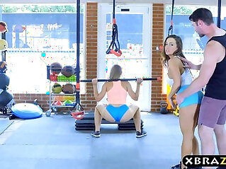 Gym babes with stacked bodies threesome with a trainer