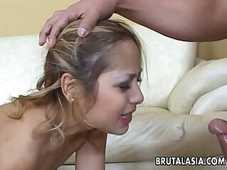 Asian glam babe getting fucked in a threesome