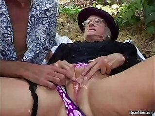 Granny fucked deep and hard outdoor