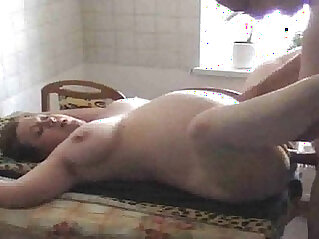 Shaved pregnant cheating wife gets fucked in the kitchen