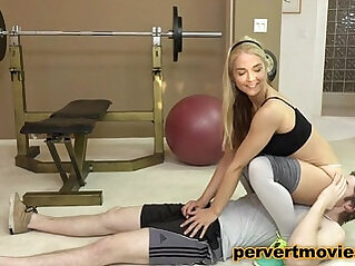 Busty amateur Blonde PersonalTrainer fucked by young Guy