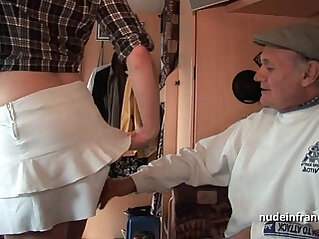MMMF Amateur french redhead hard DP in foursome with Papy Voyeur