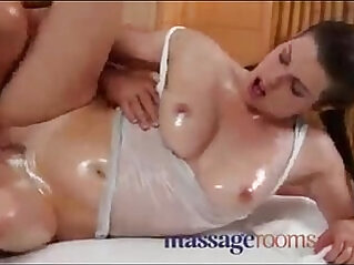 Massage Rooms Horny girl gets big boobs oiled before a good hard anal fuck