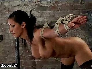 Busty latina babe bound flogged and vibed and face with cum